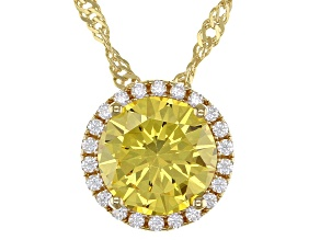 Yellow And White Cubic Zirconia 18k Yellow Gold Over Sterling Silver Pendant With Chain 3.72ctw
