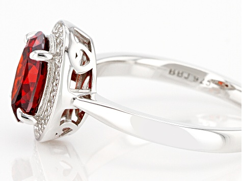 Red And White Cubic Zirconia Rhodium Over Sterling Silver Ring 3.27ctw