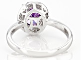 Purple And White Cubic Zirconia Rhodium Over Sterling Silver Ring 3.22ctw