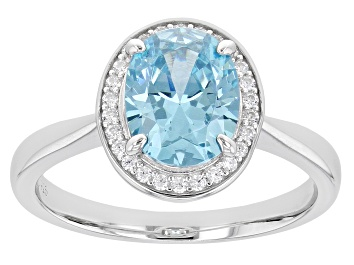 Picture of Light Blue And White Diamond Simulants Rhodium Over Sterling Silver Ring 3.00ctw