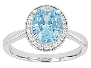 Light Blue And White Diamond Simulants Rhodium Over Sterling Silver Ring 3.00ctw