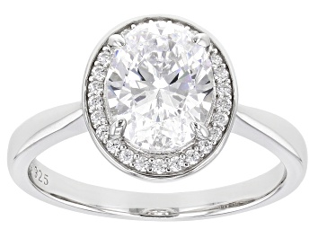 Picture of White Diamond Simulant Rhodium Over Sterling Silver Ring 3.63ctw