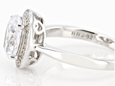 White Diamond Simulant Rhodium Over Sterling Silver Ring 3.63ctw