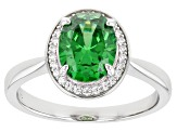 Green And White Cubic Zirconia Rhodium Over Sterling Silver Ring 3.07ctw