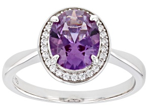 Lab Created Color Change Sapphire And White Cubic Zirconia Rhodium Over Sterling Silver Ring 2.30ctw