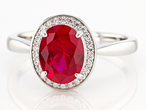 Lab Created Ruby and White Cubic Zirconia Rhodium Over Sterling Silver Ring 2.33ctw