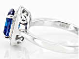 Blue And White Cubic Zirconia Rhodium Over Sterling Silver Ring 3.30ctw
