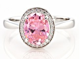 Pink And White Cubic Zirconia Rhodium Over Sterling Silver Ring 3.28ctw
