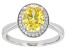 Yellow And White Diamond Simulants Rhodium Over Sterling Silver Ring 3.27ctw