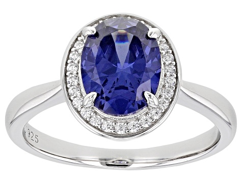 Blue And White Diamond Simulants Rhodium Over Sterling Silver Ring 3.22ctw