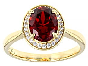 Red And White Cubic Zirconia 18k Yellow Gold Over Silver Ring 3.27ctw