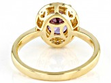 Purple And White Cubic Zirconia 18k Yellow Gold Over Sterling Silver Ring 3.22ctw
