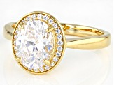 White Cubic Zirconia 18k Yellow Gold Over Sterling Silver Ring 3.63ctw