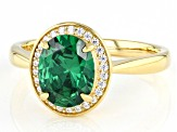 Green And White Cubic Zirconia 18k Yellow Gold Over Sterling Silver Ring 3.07ctw