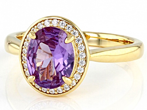 Purple Lab Created Color Change Sapphire & White Cubic Zirconia 18k Yellow Gold Over Silver Ring
