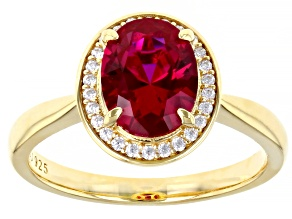 Lab Created Ruby and White Cubic Zirconia 18k Yellow Gold Over Sterling Silver Ring 2.33ctw