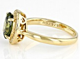 Green And White Cubic Zirconia 18k Yellow Gold Over Sterling Silver Ring 3.25ctw