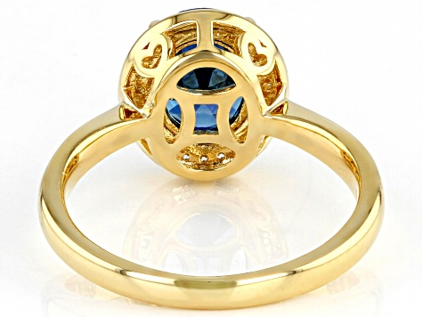 Blue And White Cubic Zirconia 18k Yellow Gold Over Sterling Silver Ring 3.30ctw