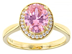 Pink And White Cubic Zirconia 18k Yellow Gold Over Sterling Silver Ring 3.30ctw