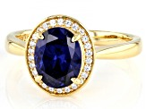 Blue And White Cubic Zirconia 18k Yellow Gold Over Sterling Silver Ring 3.22ctw