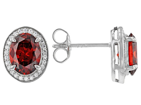 Red And White Cubic Zirconia Rhodium Over Sterling Silver Earrings 4.23ctw