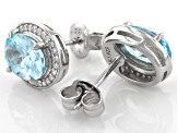 Light Blue And White Cubic Zirconia Rhodium Over Sterling Silver Earrings 4.51ctw