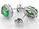 Green And White Cubic Zirconia Rhodium Over Sterling Silver Earrings 4.21ctw