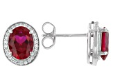Lab Created Ruby And White Cubic Zirconia Rhodium Over Sterling Silver Earrings 3.18ctw