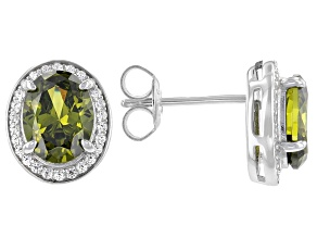 Green And White Cubic Zirconia Rhodium Over Sterling Silver Earrings 4.39ctw