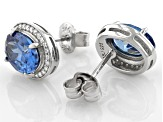 Blue And White Cubic Zirconia Rhodium Over Sterling Silver Earrings 4.56ctw
