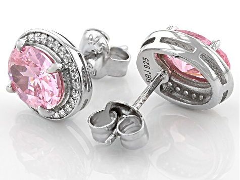 Pink And White Cubic Zirconia Rhodium Over Sterling Silver Earrings 4.15ctw