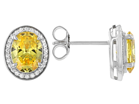 Yellow And White Cubic Zirconia Rhodium Over Sterling Silver Earrings 4.36ctw