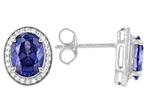 Blue And White Cubic Zirconia Rhodium Over Sterling Silver Earrings 4.36ctw