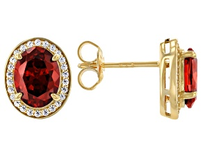 Red And White Cubic Zirconia 18k Yellow Gold Over Silver Earrings 4.23ctw