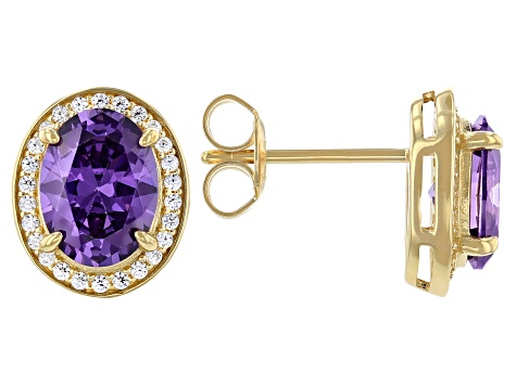 Purple And White Cubic Zirconia 18k Yellow Gold Over Sterling Silver Earrings 4.31ctw