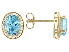 Light Blue And White Cubic Zirconia 18k Yellow Gold Over Sterling Silver Earrings 4.51ctw