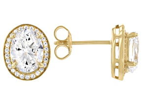 White Cubic Zirconia 18k Yellow Gold Over Sterling Silver Earrings 4.78ctw