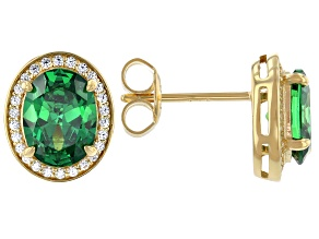 Green And White Cubic Zirconia 18k Yellow Gold Over Sterling Silver Earrings 4.21ctw