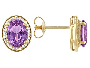 Purple Lab Created Color Change Sapphire & White Cubic Zirconia 18k Yellow Gold Over Sterling Silver