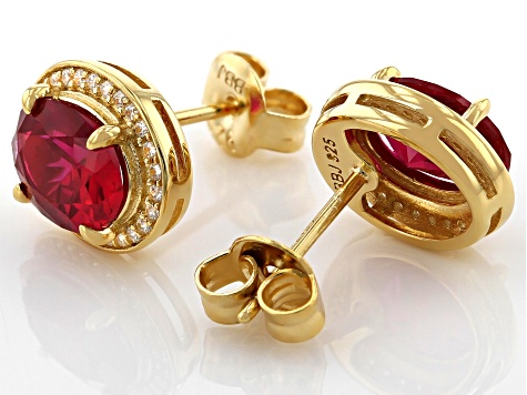 Lab Created Ruby and White Cubic Zirconia 18k Yellow Gold Over Sterling Silver Earrings 3.18ctw