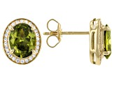 Green And White Cubic Zirconia 18k Yellow Gold Over Sterling Silver Earrings 4.39ctw
