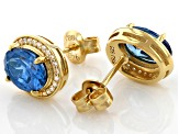 Blue And White Cubic Zirconia 18k Yellow Gold Over Sterling Silver Earrings 4.56ctw