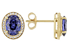 Blue And White Cubic Zirconia 18k Yellow Gold Over Sterling Silver Earrings 4.36ctw