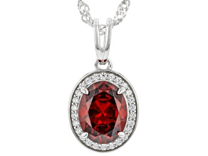 Red And White Cubic Zirconia Rhodium Over Sterling Silver Pendant With Chain 3.26ctw