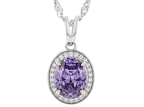 Purple And White Cubic Zirconia Rhodium Over Sterling Silver Pendant With Chain 3.22ctw