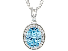 Light Blue And White Cubic Zirconia Rhodium Over Sterling Silver Pendant With Chain 3.00ctw