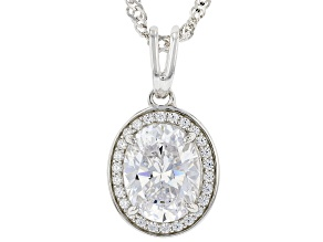 White Cubic Zirconia Rhodium Over Sterling Silver Pendant With Chain 3.63ctw