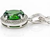 Green And White Cubic Zirconia Rhodium Over Sterling Silver Pendant With Chain 3.07ctw