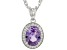 Lab Created Color Change Sapphire And White Cubic Zirconia Pendant With Chain 2.29ctw