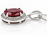 Lab Created Ruby And White Cubic Zirconia Rhodium Over Sterling Silver Pendant With Chain 2.32ctw